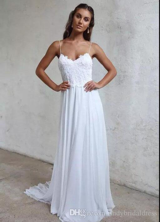 2019 Spaghetti Straps Chiffon A Line Summer Beach Wedding Dresses Lace Top Backless Court Train Bridal Gowns