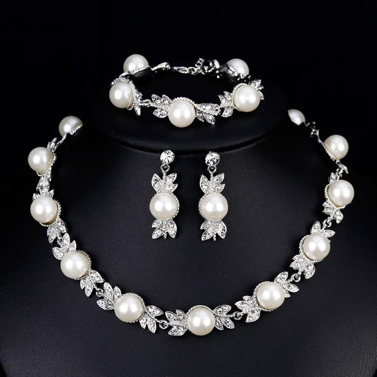 84d3bce49e867 Simulated Pearl Bridal Jewelry Sets Silver Color Wedding Necklace Earrings  Bracelets Sets Party Costume Jewellery Accessories