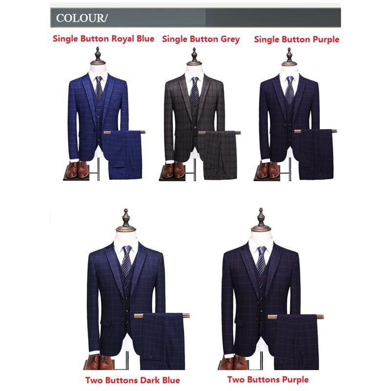 Блейзер + жилет + брюки Королевский синий костюм в шотландскую клетку для мужчин 2018 Классическое свадебное платье Костюм Формальный деловой костюм Сценический костюм для певицы M-3XL