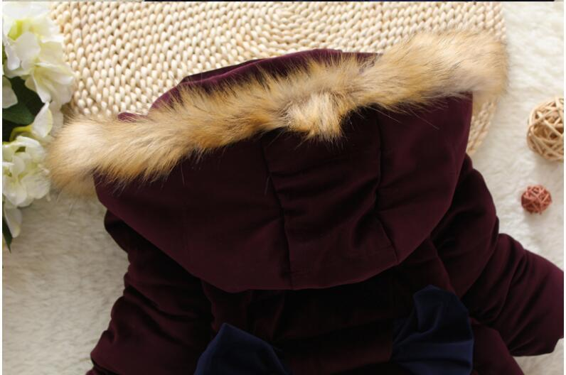 Baby Girls Winter Jacket For Girls Thicken Warm Coat Kids Warm Fur Hooded Outerwear Children Clothes Infant Girls Coat W60