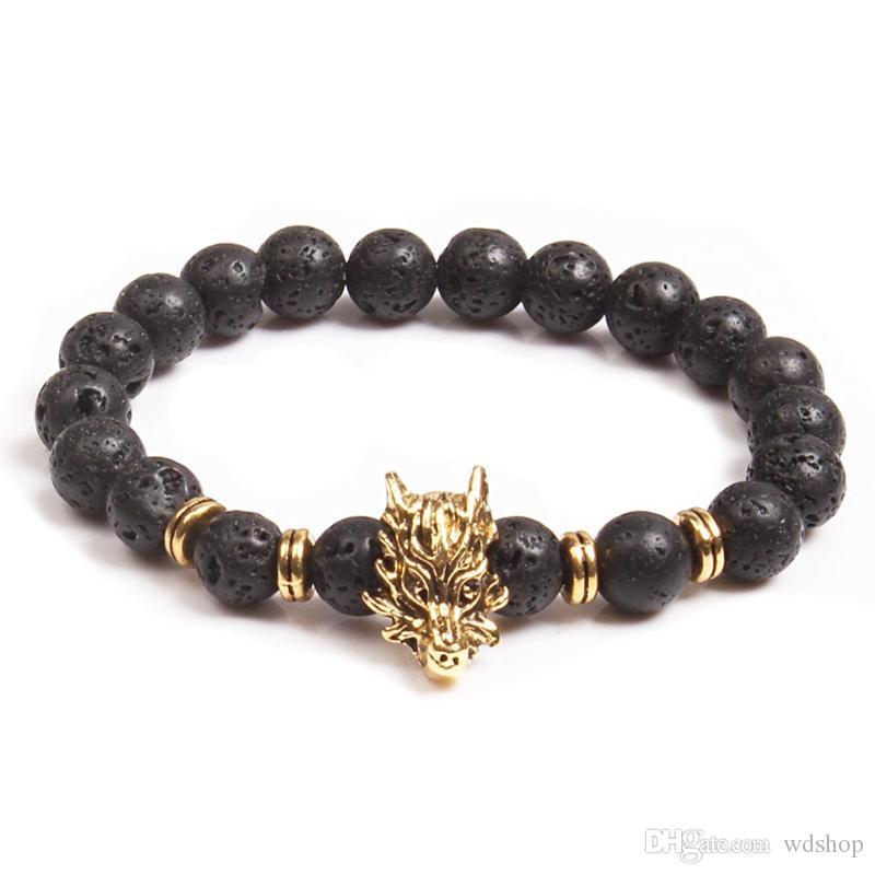 Lava Stone Beads Bracelets Natural Black Essential Oil Diffuser Elastic Bracelet Volcanic Rock Beaded Dragon Charms Chakra Men Yoga Bracelet