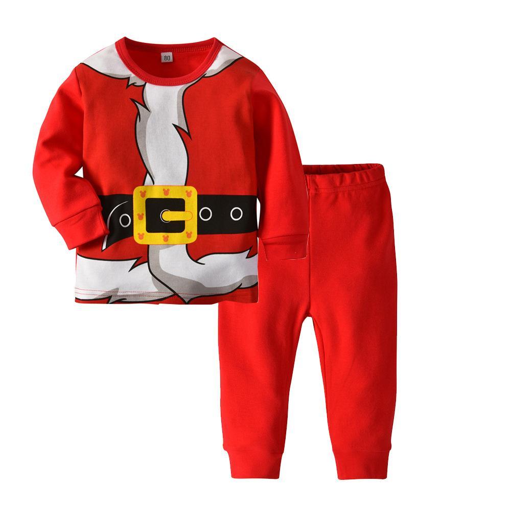 7c28fa018d59d Acheter Rouge Père Noël Enfants Garçons Filles Coton Pyjamas Ensemble À  Manches Longues Toddler Bébé Enfants Tops + Pantalon Vêtements Ensemble  Drôle ...