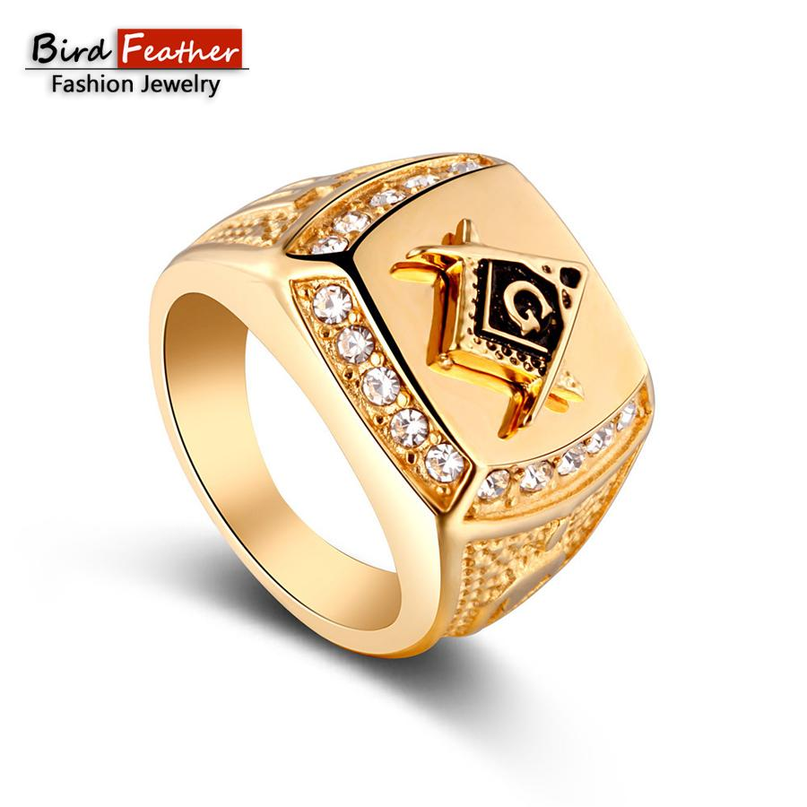 24b0f5d78f Bird Feather Gold Color Masonic Men Ring Zinc Alloy Punk Rings For Women  Vintage Hip Hop Fashion Jewelry Woman Wedding Ring Promise Ring Diamond  Engagement ...