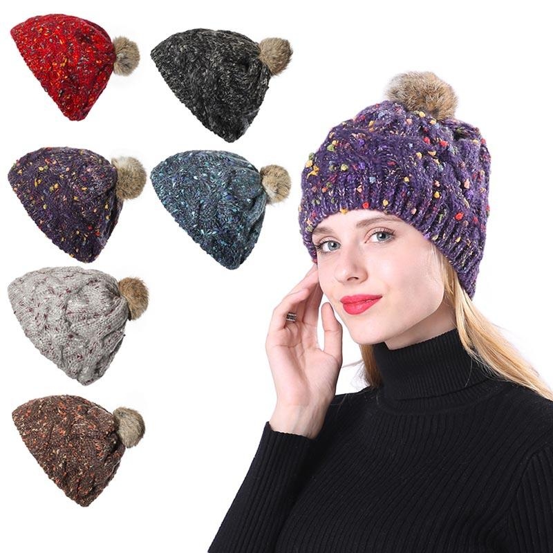 f5107d12cf5 Women Girls Winter Warm Ball Pom Poms Beanies Girls Thick Knitted Skullies Hat  Best Sale WT Knitted Hats Knit Cap From Navyjewelry