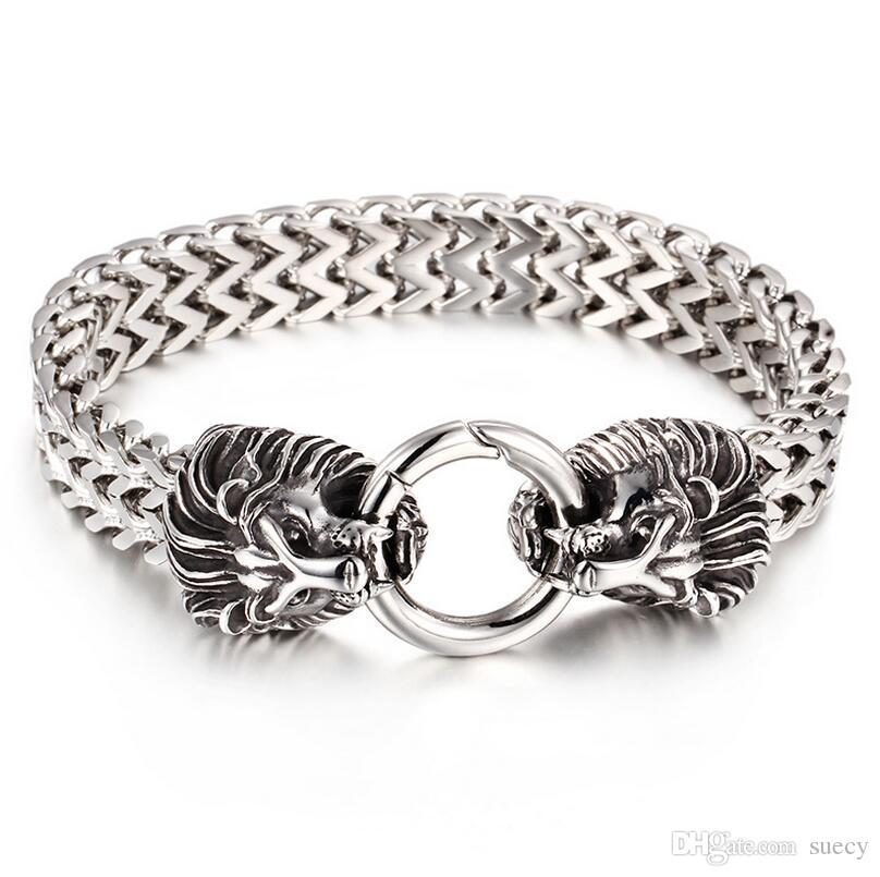 Cool Biker Bracelet hommes lourds punk rock or argent acier stainelss double tête de loups de loup têtes fermoir bracelet bracelets bijoux