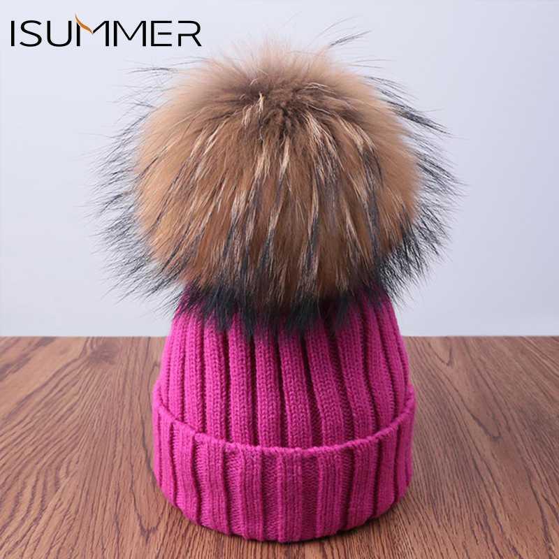 b662faabde1 ISummer Pom Poms Women Winter Hats 2018 Knitted Warm Cap Thick Skullies  Beanies Hats Girl Cotton Ball Cap Female Gift Wholesale Baseball Cap  Slouchy Beanie ...