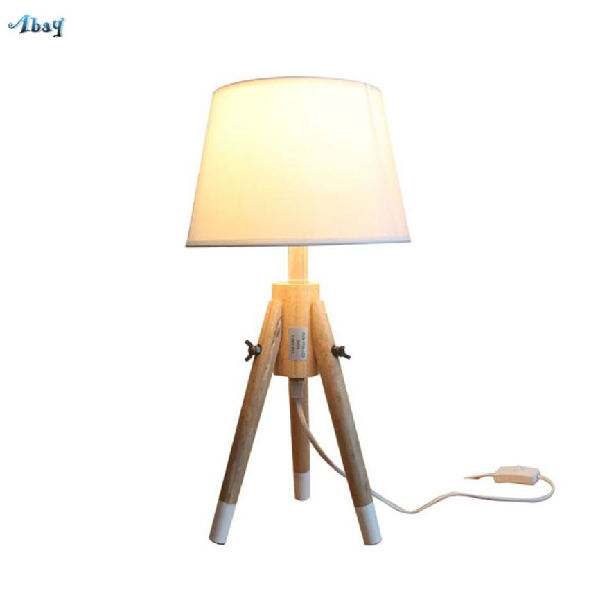 Nordic Solid Wooden Tripod Table Lamps Bedroom Living Room Study