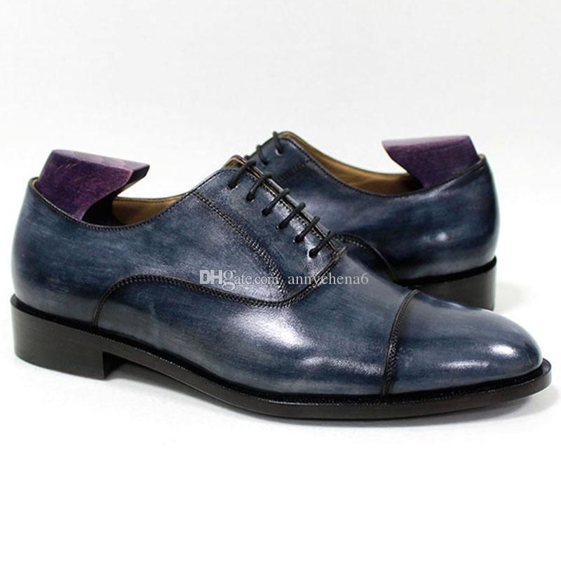 Mano Blake Pátina Piel Hombre De Calzado Captoe Azul Para Transpirable Mackay Personalizado Genuino Oxford Marino Hecho A Zapato Vestir rCtdshQ