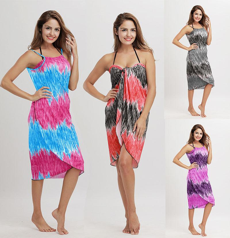 8375f51060 2018 Women Summer Hit Color Beach Dress New Beach Towel Wrap Skirt Towels  Maxi Dresses Casual Boho Dress Sundress Many Ways To Wear Discount Dress  Short ...