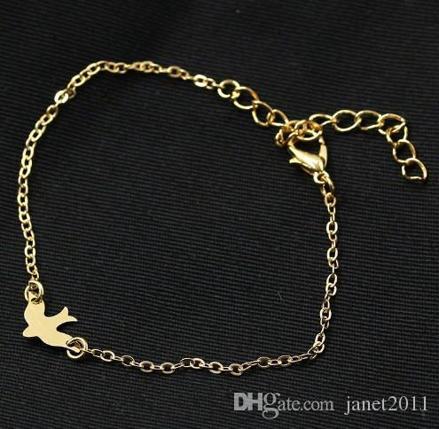 Peace Dove Charm Bracelets Alloy Silver Gold Filled Womens Link Bracelets Pendant Dream Catcher Hand Chain