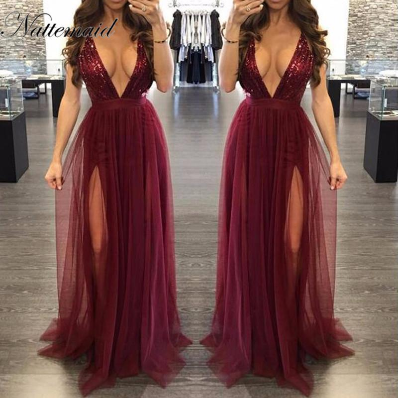 8f61413009626 NATTEMAID 2017 V Neck Backless Sexy Summer Dress Women Maxi Long Mesh  Dresses Vintage Floor Length Sequin Party Dress Vestidos