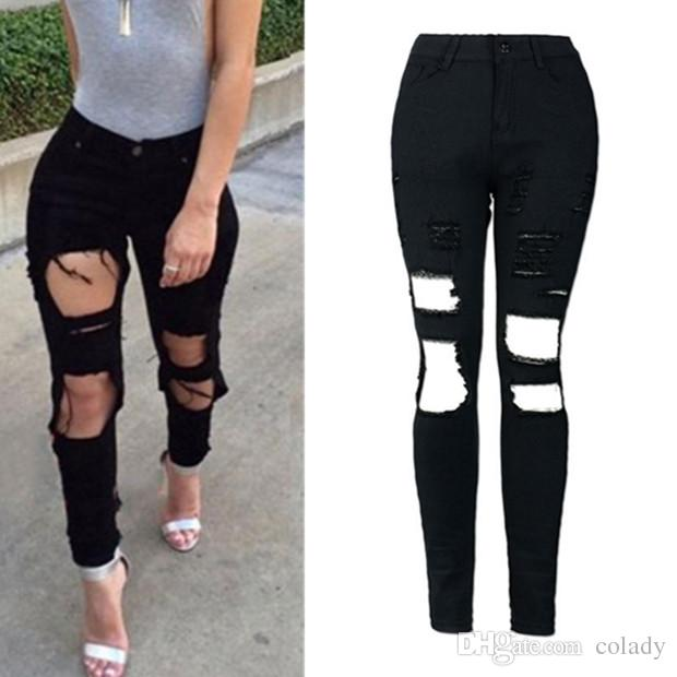 2018 Hot Summer Style NEW elastic pencil pants women high waist jeans trousers sexy night clubwear