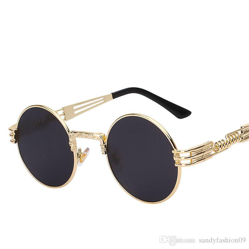 9d18dd976d Round Shades Brand Designer Sun Glasses Mirror High Quality UV400 Gothic  Steampunk Sunglasses Men Women Metal WrapEyeglasses Round Sunglasses Cheap  ...