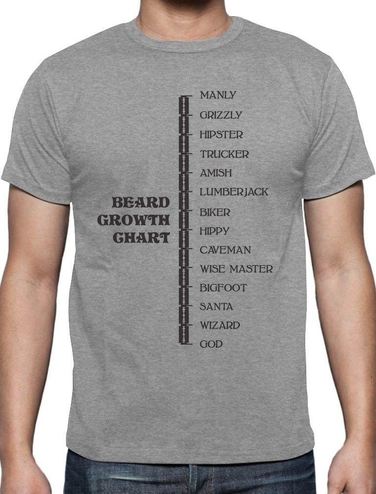 Beard Growth Chart Funny Manly God Scale Gift Idea T Shirt Beard