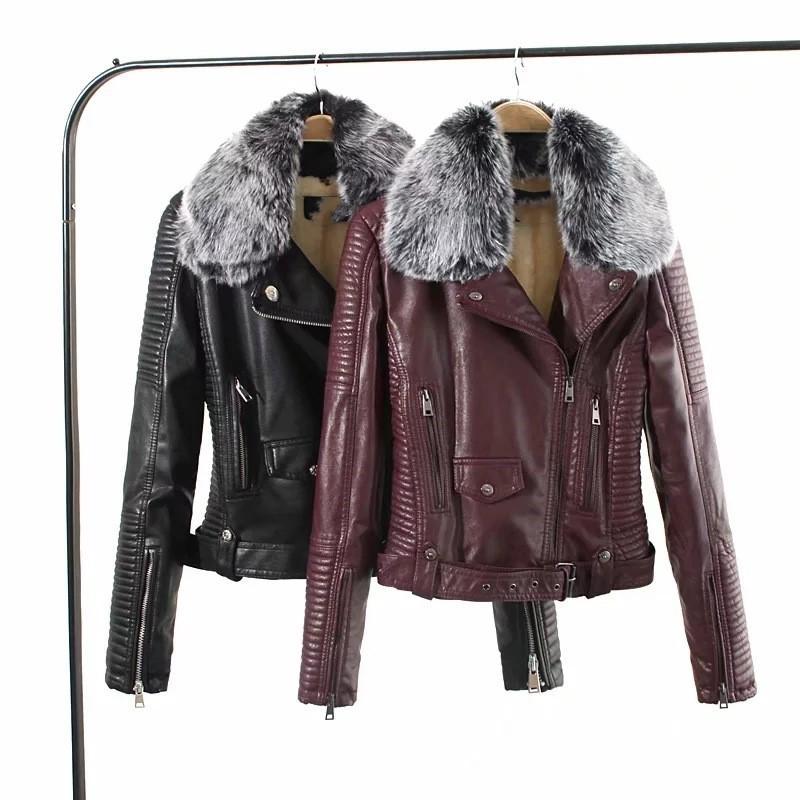 GTGYFF nero wint rosso moda donna moto giacca in finta pelle tuta sportiva con cerniera falso cappotto di pelliccia cappotti top abbigliamento caldo