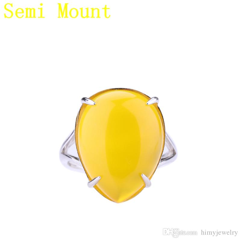 Fine Silver 925 Sterling Silver Ring 16.5x20mm Pear Cabochon Semi Mount Engagement Wedding Ring for Amber Agate Jewelry Setting DIY Stone