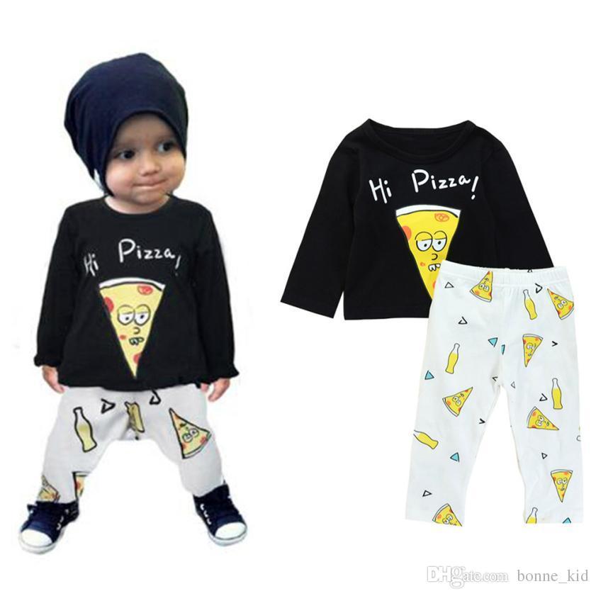 0f96e24b89d Großhandel Neugeborenes Baby Jungen Kleidung Cartoon T Shirt + Hosen 2  STÜCKE Set Pizza Outfit Infant Boutique Freizeitkleidung Kinder Kostüm  Kleinkind ...