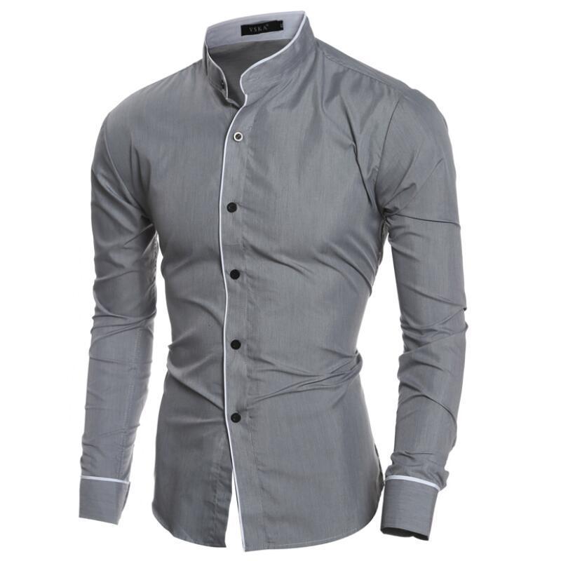 509b2d751f09 2019 Men Shirt 2018 New Long Sleeve Shirt Men Mandarin Collar Slim Fit Camisa  Masculina Casual Social White Dress Shirts Dropshipping From Vikey13, ...