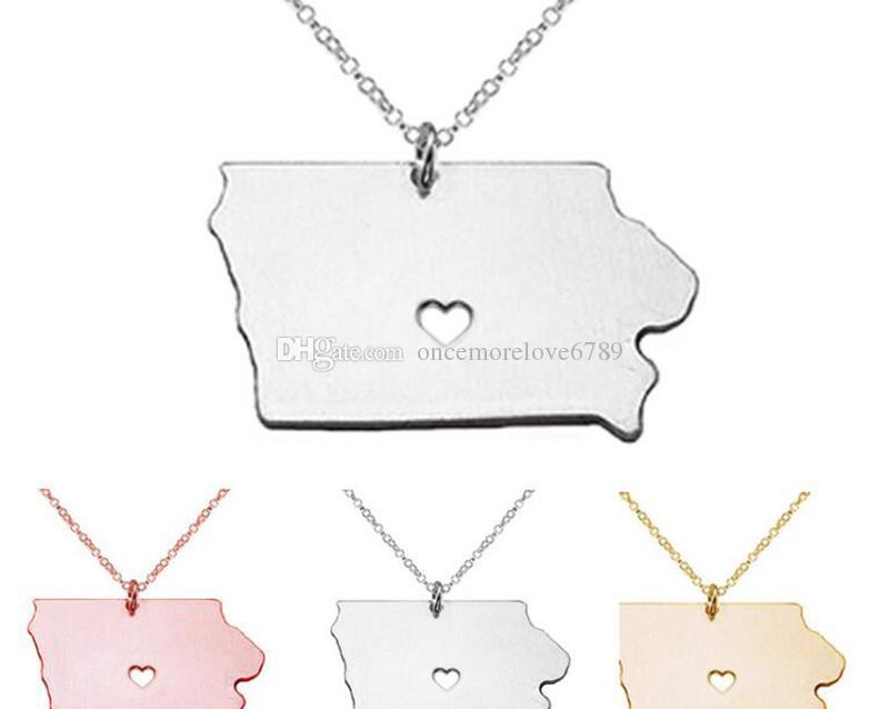 WOMEN Stainless Steel Jewelry usa map necklace usa state necklaces Pendant Heart necklace Charm Map Necklaces Jewelry 60 design