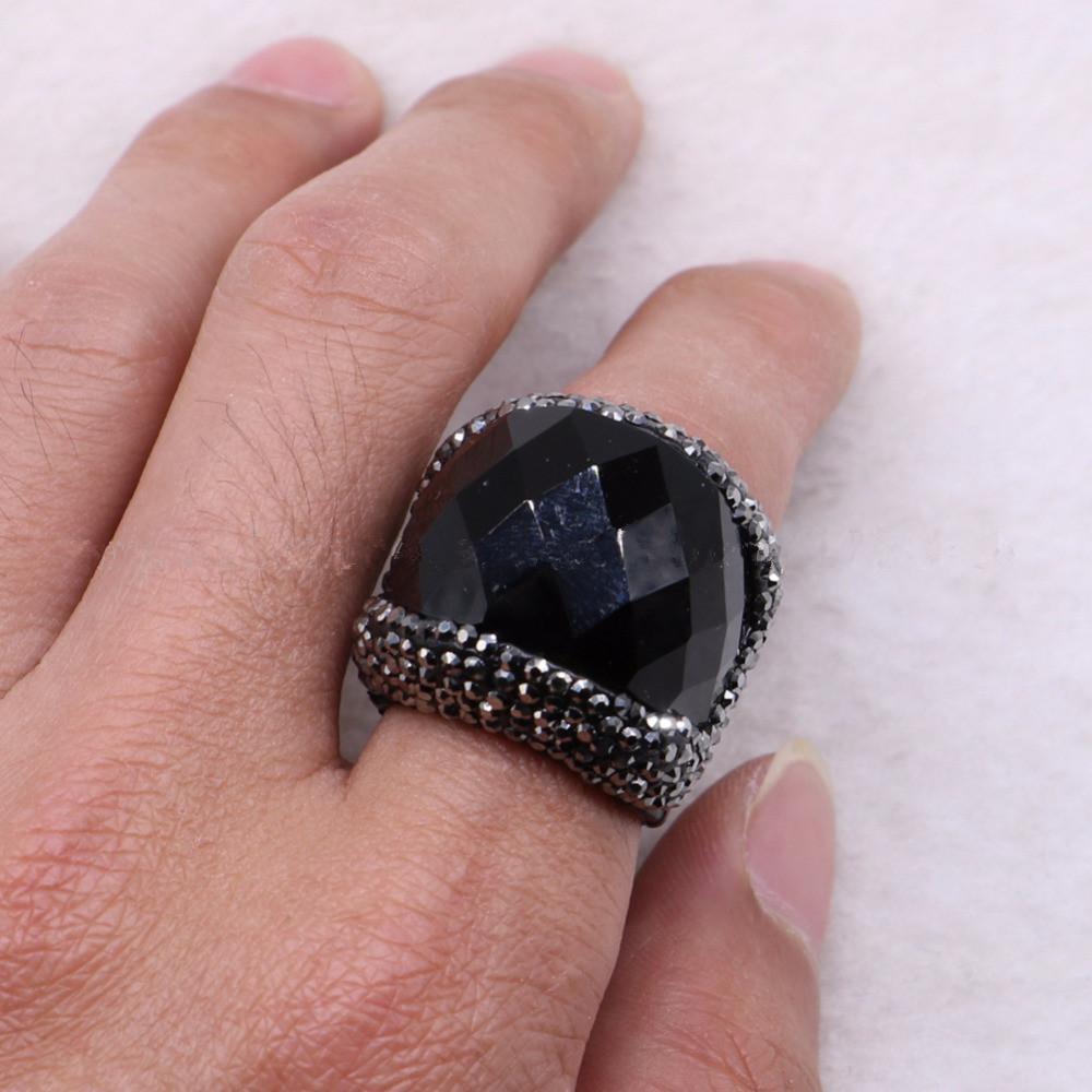 2018 Black Natural Stone Rings Onyx Druzy Adjustable Rings Snakeskin ...
