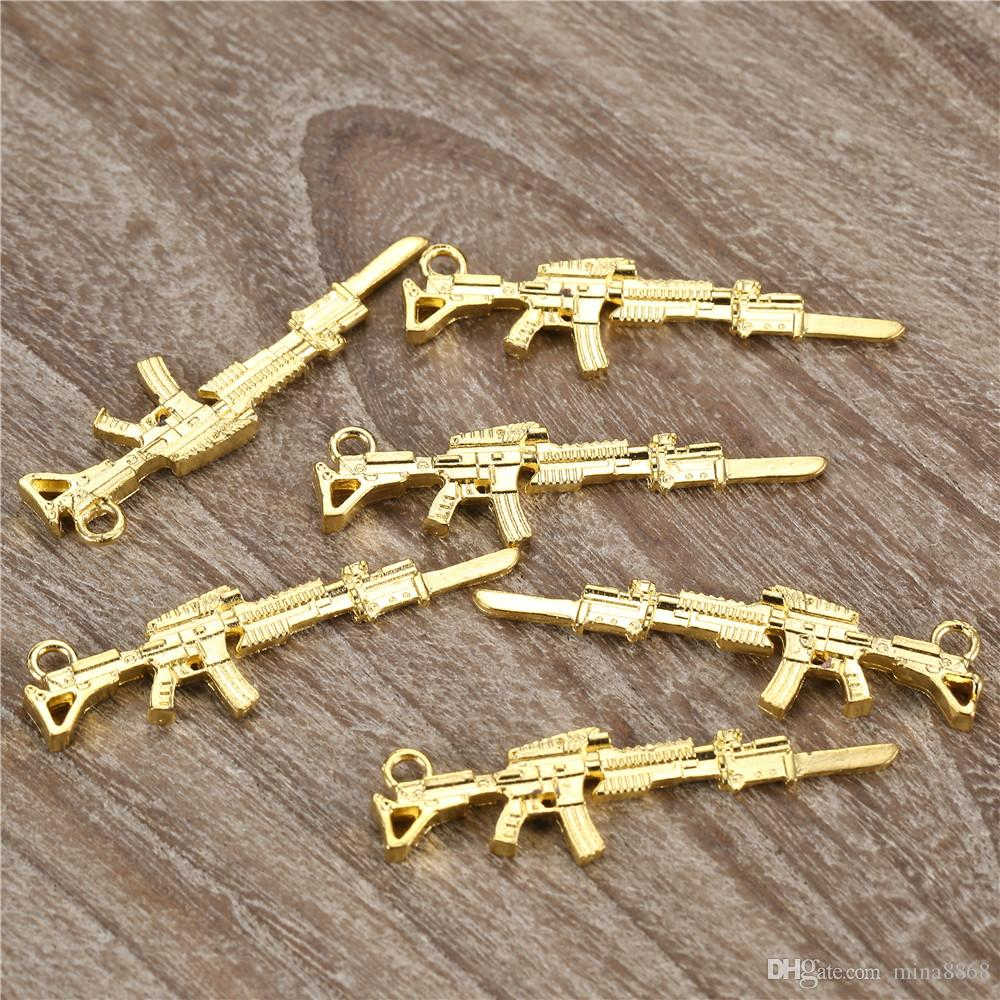 / 9.5 * 44.5mm pistolet en métal charmes pendentifs pour bricolage bijoux faits à la main artisanat découvertes en gros