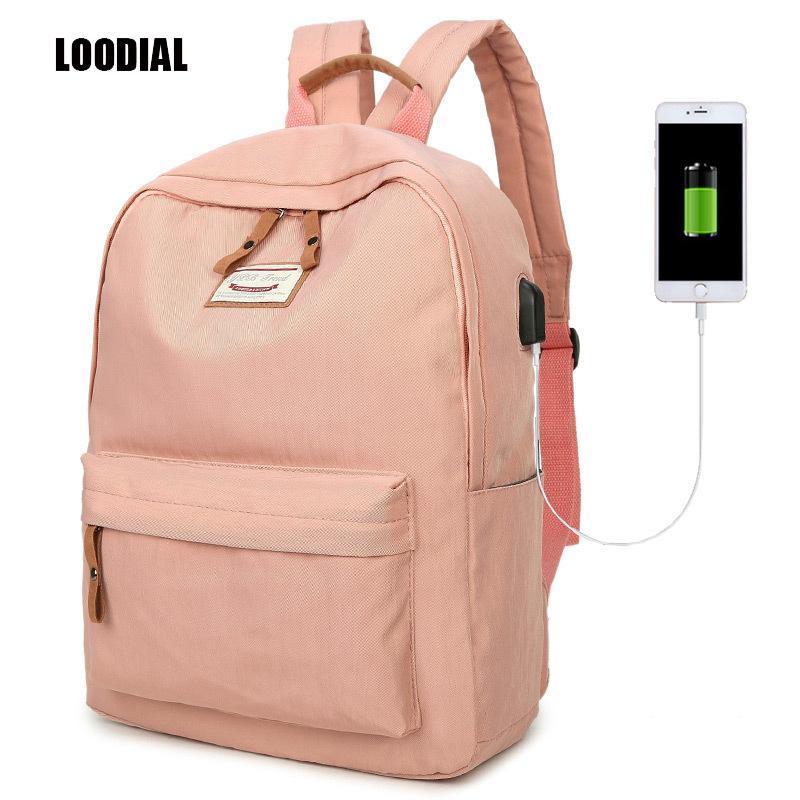 Loodial Girls School Bags Waterproof Backpack Usb Charging Schoolbag ... f6ce785ec09dc