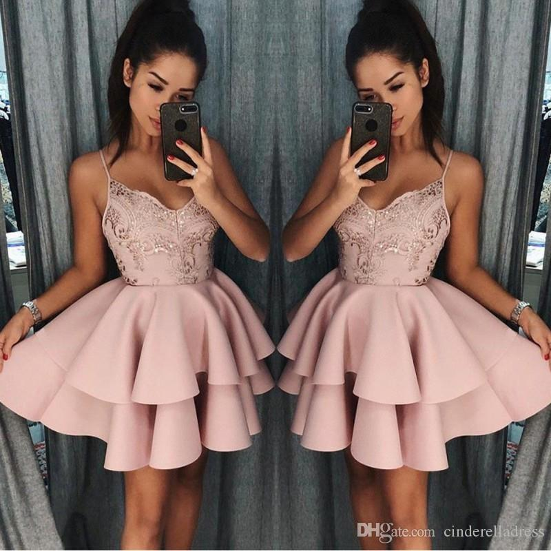 Dusty Rose Short Homecoming Dresses 2018 Fall Spaghetti Straps A Line  Layers Cocktail Dress Lace Sequins Mini Prom Gowns BA9891 Lace Gowns Long  Homecoming ... 6fea6107c32b