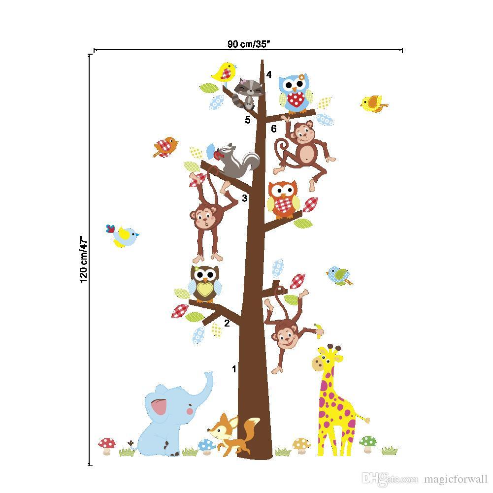 Cartoon Animals Monkey Giraffe Owls Squirrel Large Tree Wall Stickers Kids Room Nursery Decor Wall Mural Poster Art Living Room Wallpaper