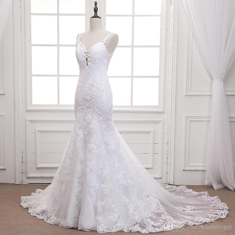 Real photos vintage lace Mermaid Wedding Dresses Country pearls spaghetti straps sweep train backless bridal Wedding Gowns plus size 3935