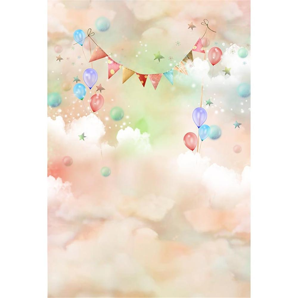 Pastel Pink Green White Clouds Baby Kids Birthday Party Backdrop for Photography Printed Balloons Flags Children Bokeh Photo Background