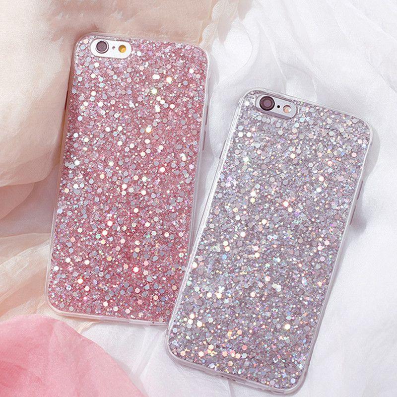 8f6f3639271 Compre Luxo Shinning Glitter Capa Para Iphone 7 7 Plus 6 6 S Plus Se 5 5s  Soft Amor Coração Telefone Capa Fundas Para Iphone7 Case De Phonephotos, ...