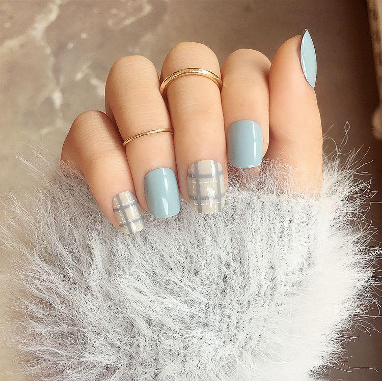 Ecbasket Acrylic Nail Tips Natural Fake Nails Short Oval: Foreverlily Lattice Solid Fake Nails Short Blue/Purple