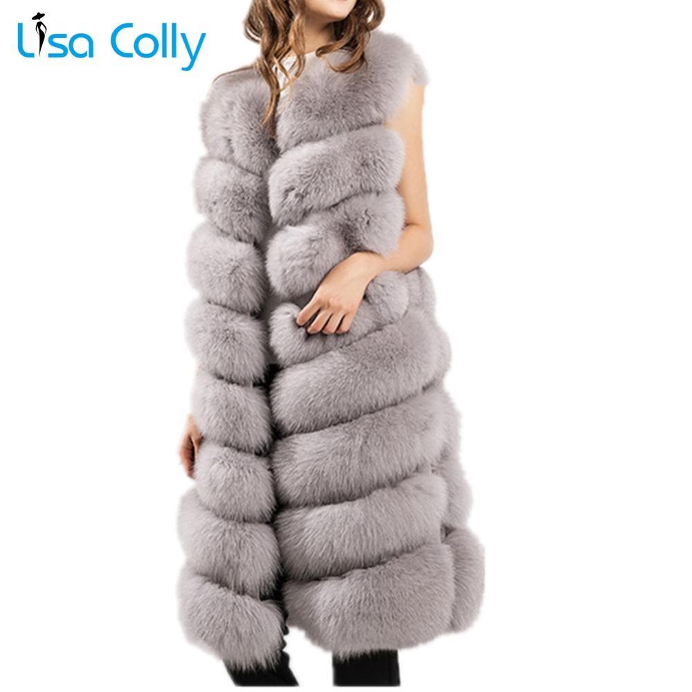 7f2a3ac9c Lisa Colly New Women s Faux Fur Vest Coat Furry Fake Fur Winter Warm vest  coat Jacket Luxury Outerwear Fox Long