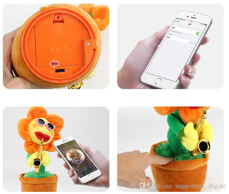 2018 NEW electric sunflowers Toy singing Music Sexy Musical enchanting Flower Dancing Saxophone Stuffed bluetooth play and build-in 16 songs