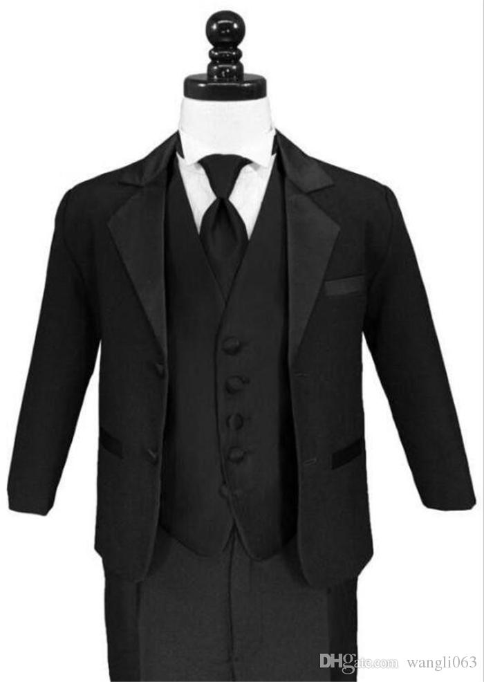 Three Piece Black Notch Lapel Boys Formal Wear Occasion Two Buttons Wedding Kids Suits Jacket+ Pants + Vest