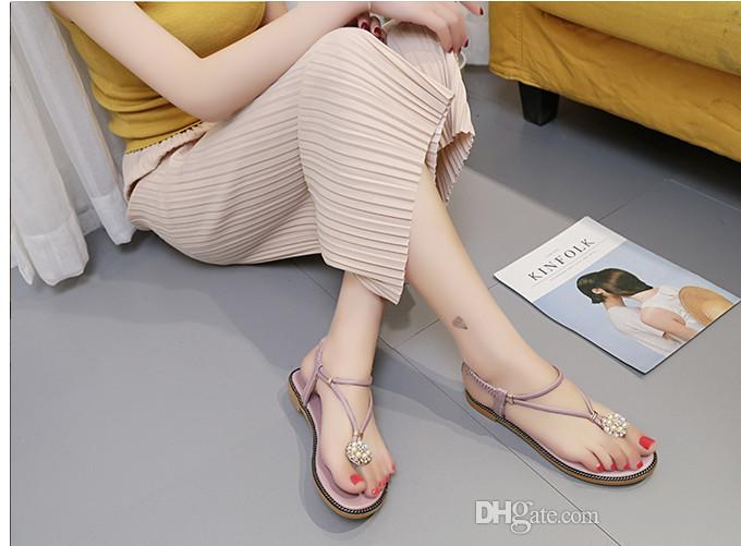 2018 Flat Women Flip Flops Bohemian Summer Sandals Shoes White Black green Luxury Gem Beading low-heeled wedge sandals Summer Women Shoes