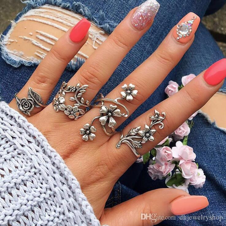 4PCS/set Vintage Carved Rose Flower Leaf Knuckle Ring Set Ancient Sterling Silver Hollow Flowers Vine Leaves Midi Finger Rings Sets Fashion
