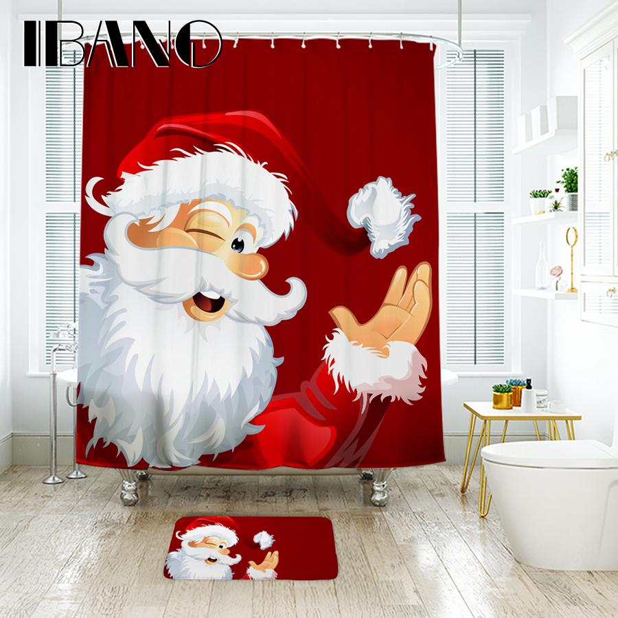 2019 IBANO Christmas Shower Curtain Waterproof Polyester Fabric With Plastic Hooks Floor Mat Decorations For Home From Sophine11 3995