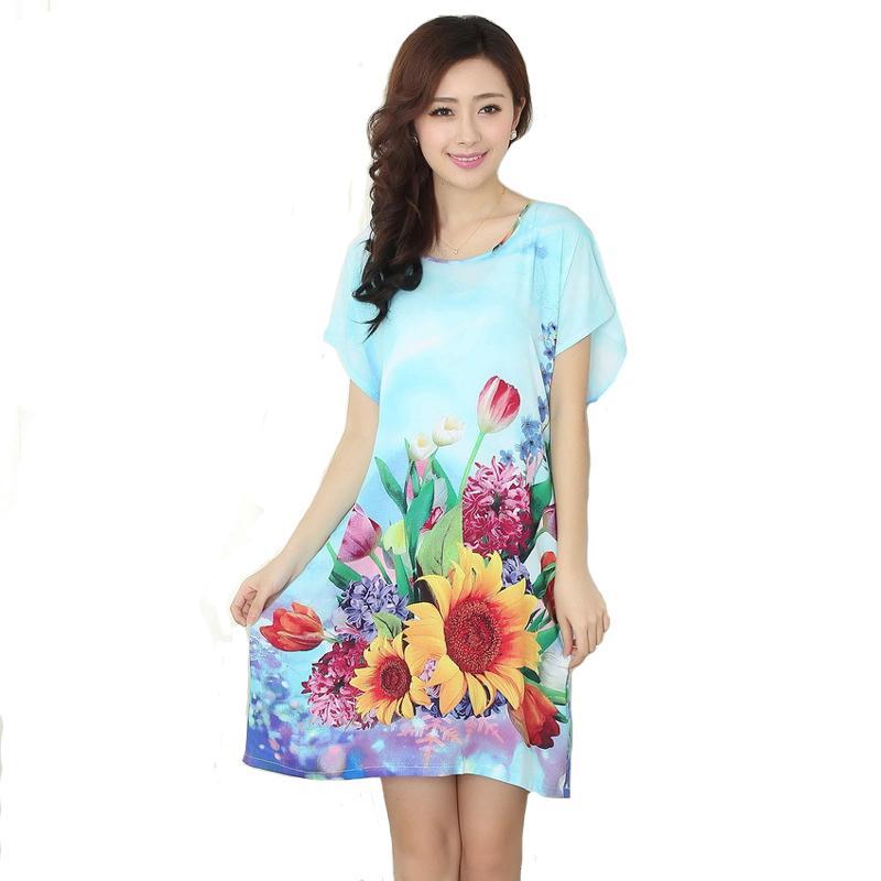 Nouvelle Arrivée Bleu Femmes Chinoises Coton Chemise De Nuit D'été À Manches Courtes Vêtements De Nuit Floral Maison Robe Robe Robe Une Taille S0125