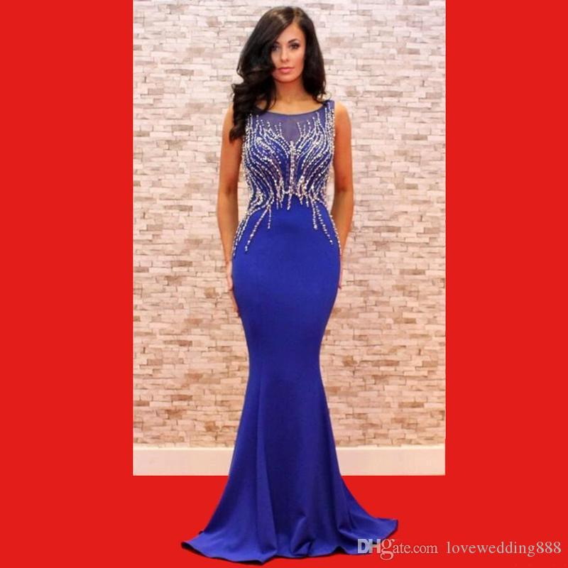 Elegant Blue Beads Crystal Mermaid Evening Dresses 2018 Bling Red Carpet Celebrity Dresses For Party Prom Great Gatsby Gowns