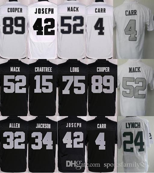 Oakland Jersey  4 Derek Carr  24 Marshawn Lynch Jersey Men  89 Amari ... 5f0ab6dc2