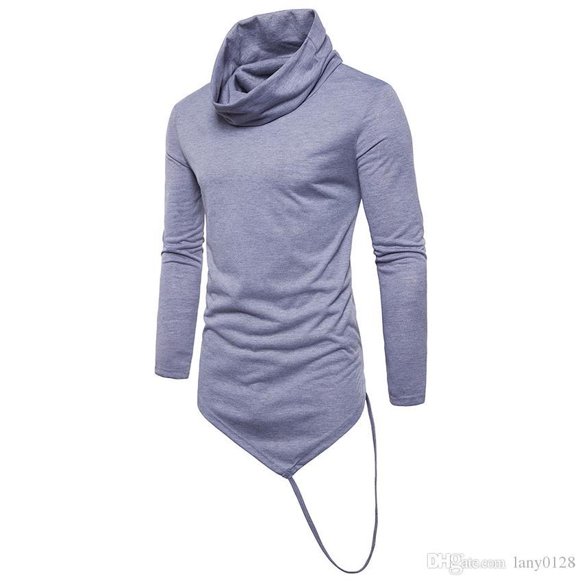 c78cca83850b6c 2018 New Arrived Men Cowl Neck Turtleneck T Shirt Longline Asymmetrical Hem T  Shirt Men Slogan T Shirts Vintage T Shirt From Lany0128, $34.48| DHgate.Com