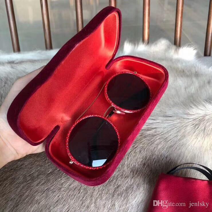 Großhandel 0061 Gold Round Sonnenbrille Red Frame Dark Grey Linsen ...