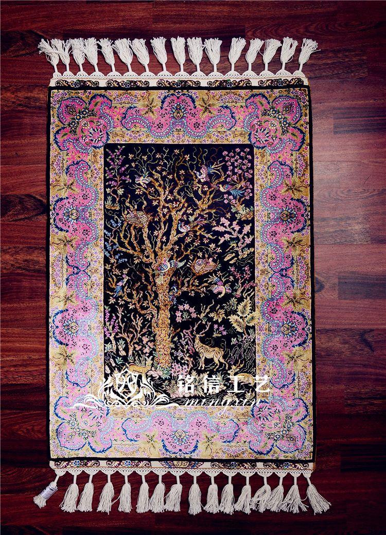 Grosshandel 2x3ft Moderne Rosa Farbe Ansicht Baum Deer Silk Teppich