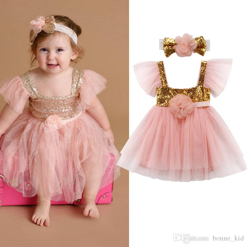 58c139c524c4 2019 Baby Girl Flower Princess Sequins Pink Tutu Dress With Headband  Toddler Baby Wedding Party Layered Tulle Dresses Sundress Vestidos From  Bonne_kid, ...
