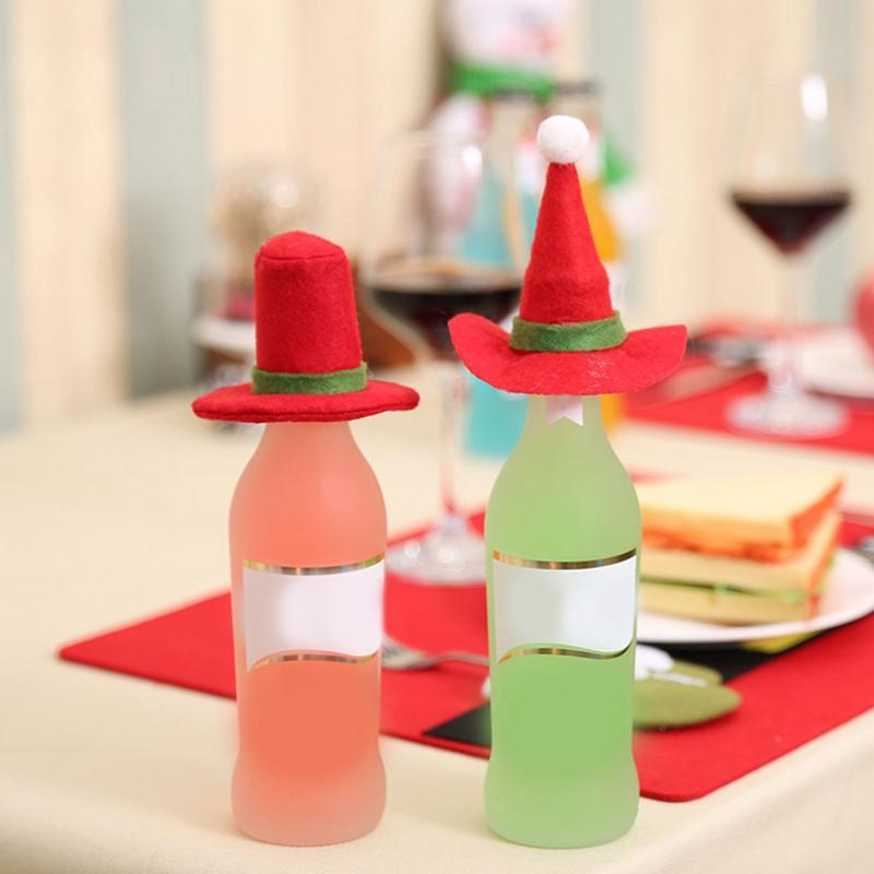 AIHOME Hat Christmas Decoration Red Wine Bottle Table Home Decor Solid Black Cone Party Hats Color From