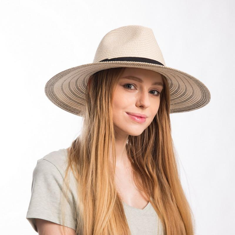 f74df58b3f40b7 Muchique Summer Panama Fedora For Women Striped Large Brim Floppy Paper  Straw Sun Hats With Black Ribbon Trim Safari Hat Bucket Hats For Women  Kentucky ...