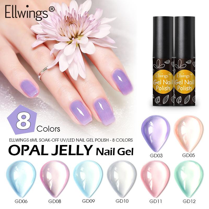 Ellwings Opal Jelly Nail Gel Soak Off UV Gel Nail Varnish Semi Vernis Permanent Vernis Manicure Art Nailart Gel Nail Polish From Appleeye, $35.33| DHgate.