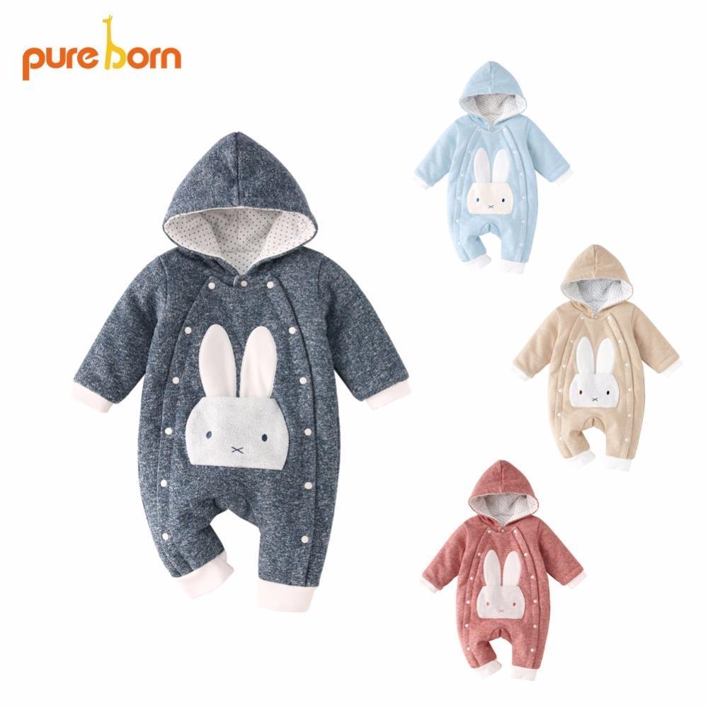 37ecfc7b9 Pureborn Baby Romper Warm Thicken Baby Clothes 2018 Cotton Jumpsuit ...
