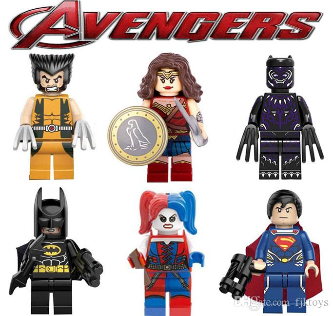 Super hero Mini Figures Blocks Marvel Avengers DC Justice League Wonder woman Spiderman Ironman Black Panther building blocks kids gifts